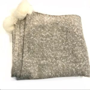 "Nordstrom Brushed Faux Fur Pom Throw 50"" X 60"""